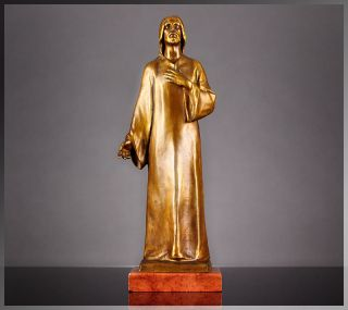 Antique Hans Muller 1920s VIENNA BRONZE Jesus SCULPTURE, Gilded Bronze