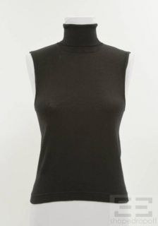 Karl Lagerfeld Black Wool Sleeveless Turtleneck Top Size 42
