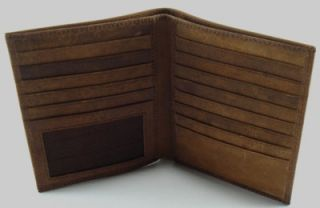 Just Leather Mens Bifold Wallet Card Holder Passcase Distress Leather