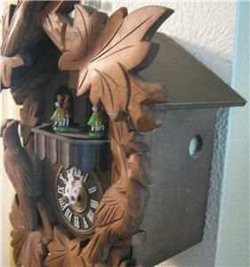 Vintage Albert Schwab Karlsruhe Cuckoo Clock w Swiss Musical Movement