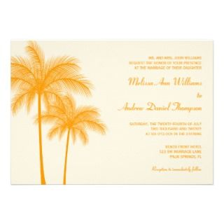 Orange Palm Tree Tropical Wedding Custom Announcements