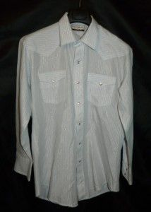 Vintage Karman Gold Collection Light Blue White Western Snap Shirt s M
