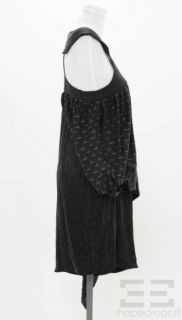 Karl Lagerfeld Black White Print Tiered Cap Sleeve Dress