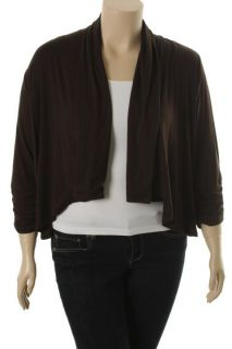 Karen Kane New Brown 3 4 Sleeve Shirred Drapey Open Front Cardigan Top