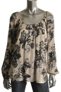 Karen Kane New Ivory Floral Printed Long Sleeve Pullover Top Blouse L