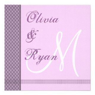 Purple & Lilac Monogram Wedding Invitation Checks