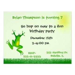 Cute frog Birthday Invitation