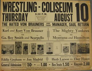 1960s Vintage WRESTLING POSTER   Von Brauners vs. Georgia Boy Smith