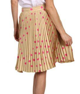 Kate Spade New York Melody Skirt Pleated Polka Dot Silk Beige Pink 10