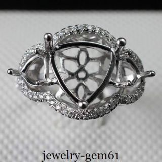 10MM Solid 14Kt White Gold Natural Diamond Semi Mount Engagement Ring