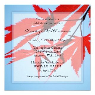 Red Japanese Maple Leaves Bridal Shower Personalized Invite