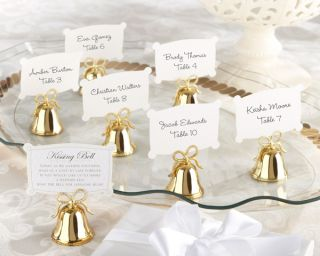 72 Gold Kissing Bell Place Card Photo Holders
