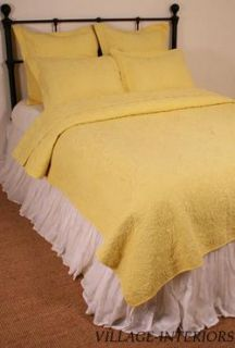 Kathleen Bright Yellow Matelasse Queen Quilt Coverlet