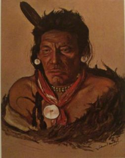 Colored Picture Print Native American Indian Mequinis Blackfoot Tribe
