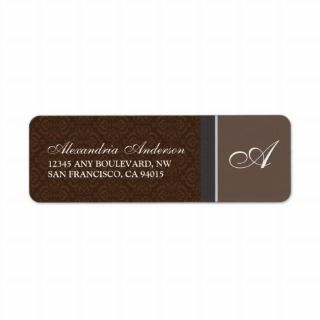 Vintage Damask Return Address Label (brown)
