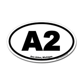 A2 Ann Arbor Michigan Euro Oval Sticker  A Cities  OvalStickers