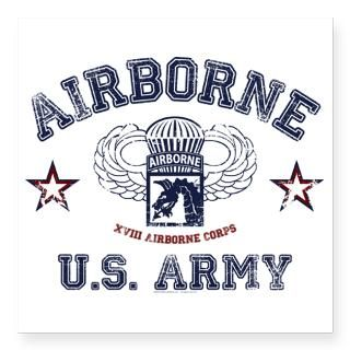 Army Airborne Square Sticker 3 x 3  Army Airborne  Military