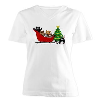 Kitty Cat, Sleigh Christmas Tree   Womens V