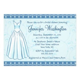 Wedding dress bridal shower party 5x7 invitation