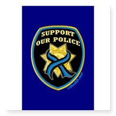 Thin Blue Line Support Police Rectangle Square Sticker 3 x 3
