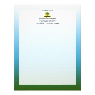 Custom Family Reunion, Green Tree with Sun Rays Customized Letterhead