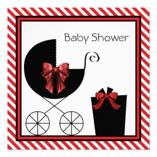 Red Black Baby Shower Invitations, Announcements, & Invites