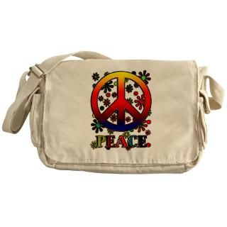 Retro Peace Sign & Flowers Messenger Bag for $37.50