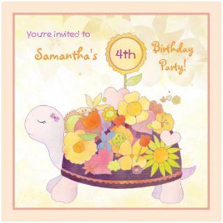 Flower Turtle Birthday Party Invitations invitation