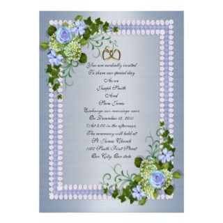 Blue Roses floral Wedding Invitation