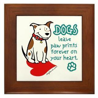 dogs leave paw prints framed tile $ 10 49