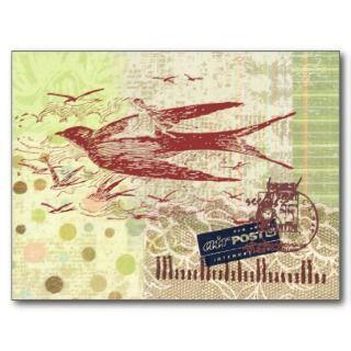 Bon Boyage Thumbelina Vintage Collage Art Postcard