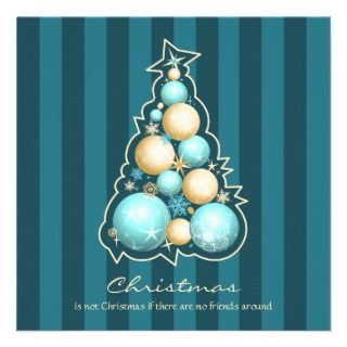 & Gold Bubbles Christmas Tree Custom Invitations