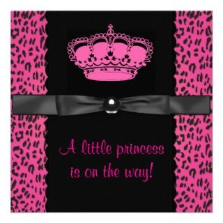 Hot Pink Leopard Princess Girl Baby Shower Custom Invite