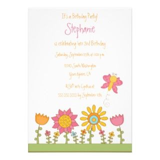 Cute butterfly flowers birthday party invitation