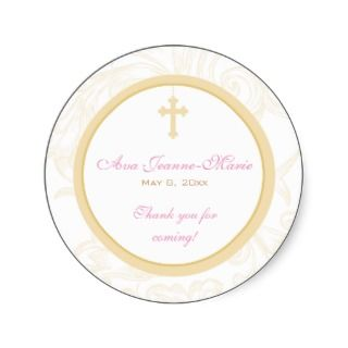 Gold Scroll Cross Address Label/Favor Sticker