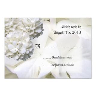 White Hydrangea 3x5 Wedding Reply Cards Personalized Announcement