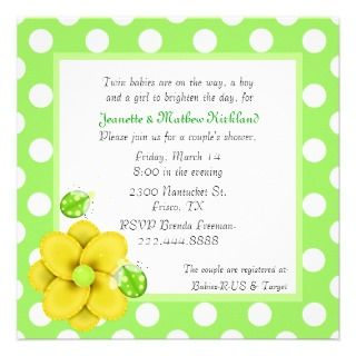 Green Couples Twins Baby Shower Invitation