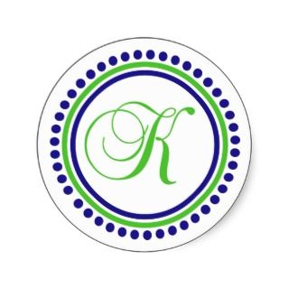 Monogram (Navy Blue / Lime Green Dot Circle) Round Sticker