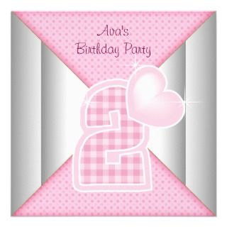 Pink Cupcake Heart Girls 2nd Birthday Party Announcements