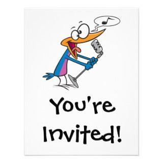crazy singing karaoke bird cartoon invitations