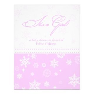 Pink & White Snowflakes Baby Shower Custom Invitation