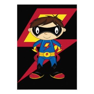 Cute Superhero Boy Invites