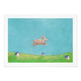 Armadillo original painting fun art CUSTOM invitations by flyinggirl