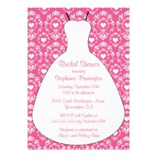 Cute wedding dress bridal shower party invitation