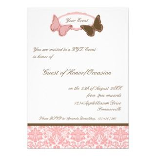 Party Invitation Pink & Brown Damask Butterflies
