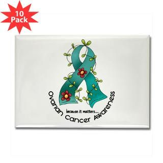 Flower Ribbon OVARIAN CANCER T Shirts & Apparel  Awareness Gift