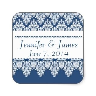 Elegant FRENCH BLUE Damask Wedding Sticker