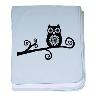 Black And White Gifts  Black And White Baby Blankets  Retro Owl