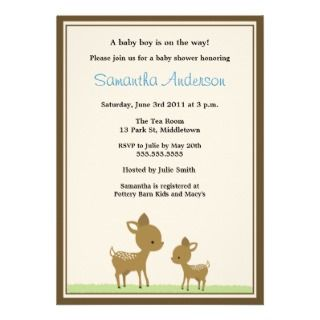 Chic Deer Baby Shower Invitation   Boy