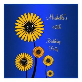 Elegant Yellow Floral Blue 40th Birthday Custom Announcements